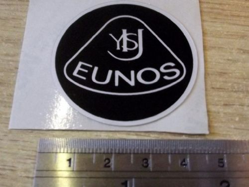 Badge, plastic, Eunos, retro style, 45mm, black/silver